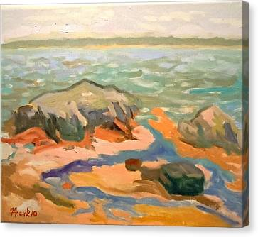 Canvas Print featuring the painting Cape Rosier Beach by Francine Frank