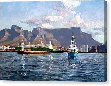Cape Town Harbor Entrance Canvas Print by Roelof Rossouw