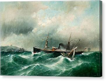 Capella On A Stormy Sea Canvas Print by MotionAge Designs