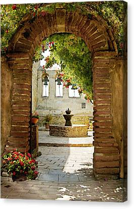Bell Canvas Print - Capistrano Gate by Sharon Foster