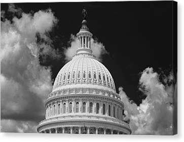 D.c. Canvas Print - Capital Dome Washington D C  B W by Steve Gadomski