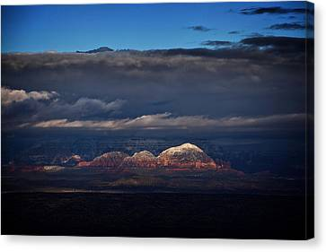 Canvas Print featuring the photograph Capitol Butte In Sedona With Snow by Ron Chilston