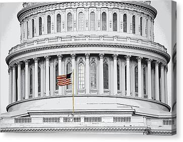 Canvas Print featuring the photograph Capitol Flag by John Schneider