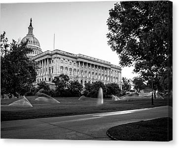 Canvas Print featuring the photograph Capitol Hill Sprinklers In Black And White by Greg Mimbs