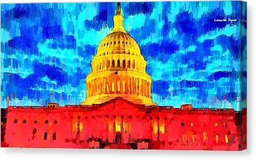 D.c Canvas Print - Capitol - Pa by Leonardo Digenio