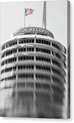 Canvas Print featuring the photograph Capitol Records Building 18 by Micah May