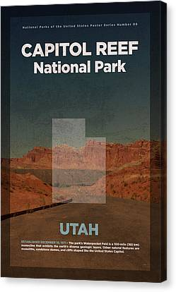 Capitol Reef National Park In Utah Travel Poster Series Of National Parks Number 08 Canvas Print
