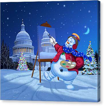Capitol Snoman Canvas Print by Michael Humphries
