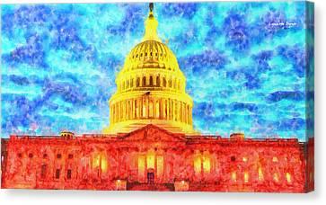 Capitol  - Watercolor -  - Pa Canvas Print by Leonardo Digenio