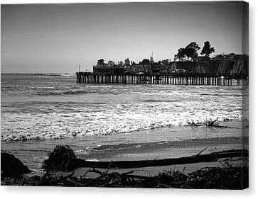 Capitola Beach And Wharf B And W Canvas Print