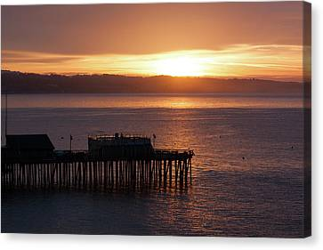 Canvas Print featuring the photograph Capitola Day Begins by Lora Lee Chapman