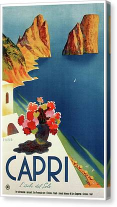 Italian Islands Canvas Print - Capri Island Of The Sun - Italy Vintage Travel  1952 by Daniel Hagerman