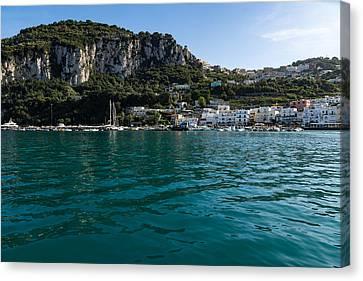 Capri Island Silky Smooth Emerald And Aquamarine Canvas Print by Georgia Mizuleva