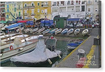 Capri Small Harbor Canvas Print by Italian Art