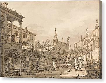 Italian Landscape Canvas Print - Capriccio Of A Venetian Courtyard by Canaletto
