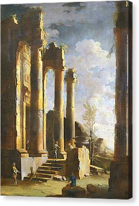 Capriccio With Ancient Ruins And Figure, Dawn Canvas Print by Leonardo Coccorante