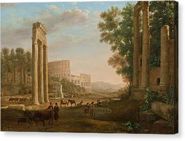 Capriccio With Ruins Of The Roman Forum Canvas Print by Claude Lorrain