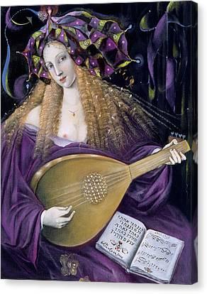 Woman Playing A Lute Canvas Print - Capricorn by Annael Anelia Pavlova