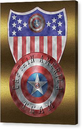 Canvas Print featuring the painting Captain America Shields On Gold  by Georgeta Blanaru