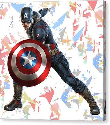 Canvas Print featuring the mixed media Captain America Splash Super Hero Series by Movie Poster Prints