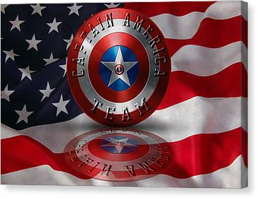 Canvas Print featuring the painting Captain America Team Typography On Captain America Shield  by Georgeta Blanaru