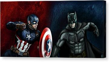 Captain America Vs Batman Canvas Print by Vinny John Usuriello