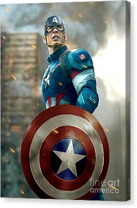 Captain America Canvas Print - Captain America With Helmet by Paul Tagliamonte