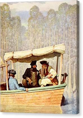 Captain Flood At A Meeting In A Cutter Canvas Print by Newell Convers Wyeth