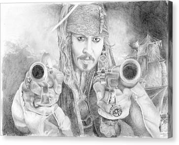 Captain Jack Sparrow And The Black Pearl Canvas Print by Bitten Kari