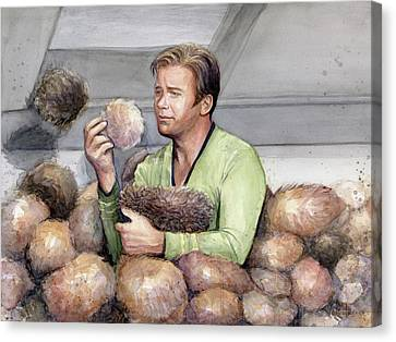 Captain Kirk And Tribbles Canvas Print by Olga Shvartsur