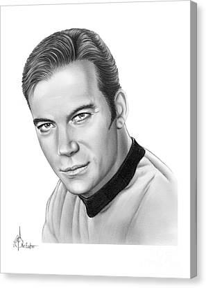 Captain Kirk- William Shatner Canvas Print by Murphy Elliott