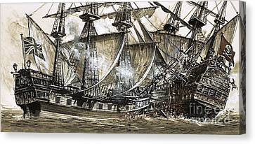Captain Maynard's Sloop Bore Down On The Pirate Ship Canvas Print by Clive Uptton