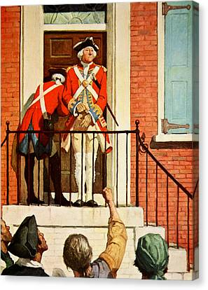 Captain Tennant With The Crowd In Front  Canvas Print by Newell Convers Wyeth