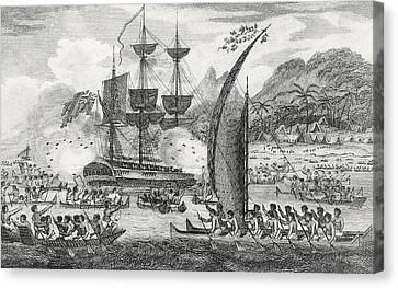 Captain Wallis Attacked By The Indians, 1767  Canvas Print by English School