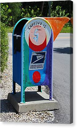Canvas Print featuring the photograph Captiva Island Mailbox- Vertical by Michiale Schneider