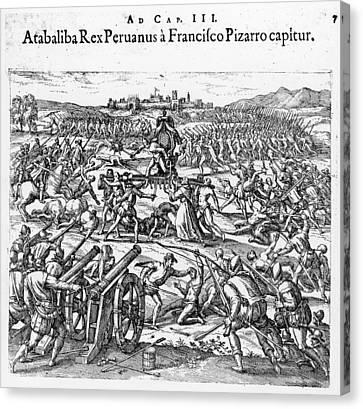 Capture Of Atahualpa, 1532 Canvas Print by Granger