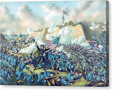 Capture Of Fort Fisher Canvas Print by American School