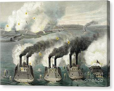 Capture Of Fort Henry By Us Gun Boats Under The Command Of Flag Officer Foote Canvas Print by American School