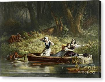Capture Of The Daughters Of Daniel Boone And Richard Callaway By The Indians Canvas Print by Karl Bodmer