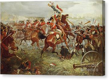Charging Horses Canvas Print - Capture Of The Eagle, Waterloo, 1898  by William Holmes Sullivan