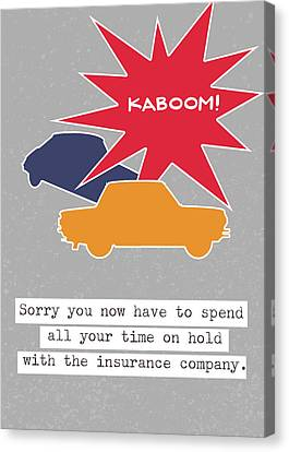 Car Accident Card- Art By Linda Woods Canvas Print by Linda Woods