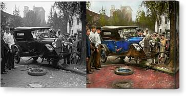 Car Accident - It Came Out Of Nowhere 1926 - Side By Side Canvas Print