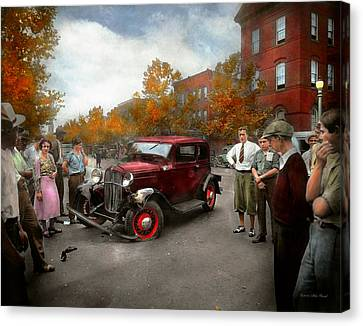 Car - Accident - Late For Tee Time 1932 Canvas Print by Mike Savad