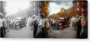 Car - Accident - Late For Tee Time 1932 - Side By Side Canvas Print by Mike Savad