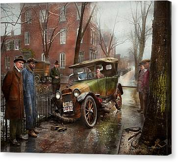 Car Accident - Watch For Ice 1921 Canvas Print by Mike Savad