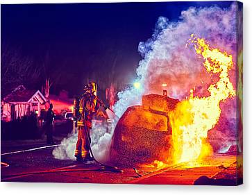 Car Arson  Canvas Print by TC Morgan