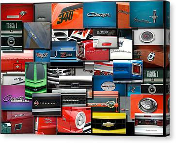 Car Badges Emblems Collage Rectangle Canvas Print by Thomas Woolworth