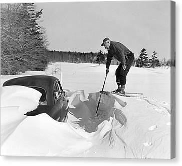 Car Buried In Snow Canvas Print