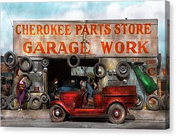 Car - Garage - Cherokee Parts Store - 1936 Canvas Print by Mike Savad