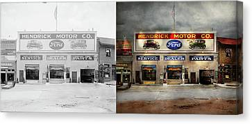 Canvas Print featuring the photograph Car - Garage - Hendricks Motor Co 1928 - Side By Side by Mike Savad